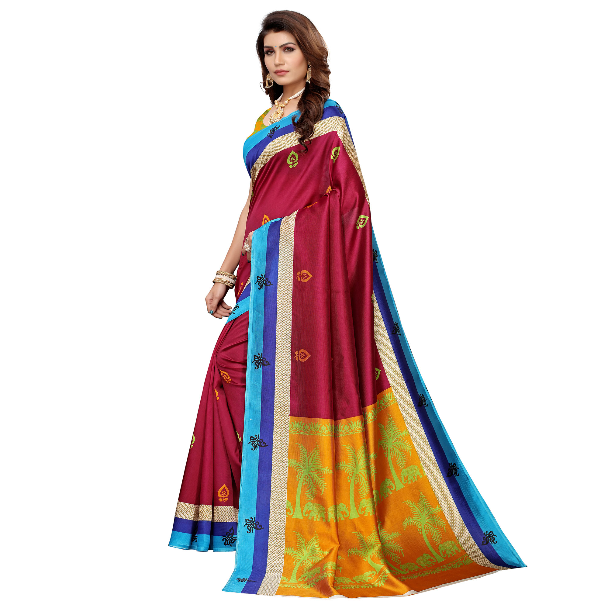 Appealing Pink Colored Casual Printed Mysore Silk Saree