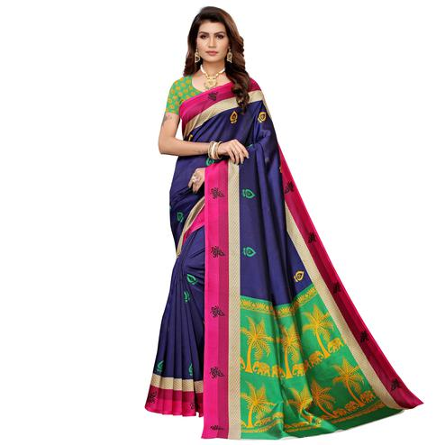 Capricious Navy Blue Colored Casual Printed Mysore Silk Saree