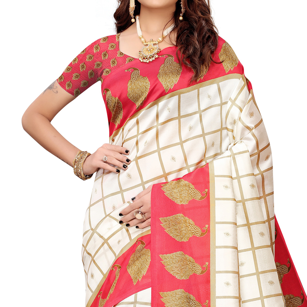 Lovely Off White-Red Colored Casual Printed Mysore Silk Saree