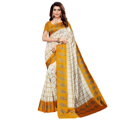 Staring Off White-Yellow Colored Casual Printed Mysore Silk Saree
