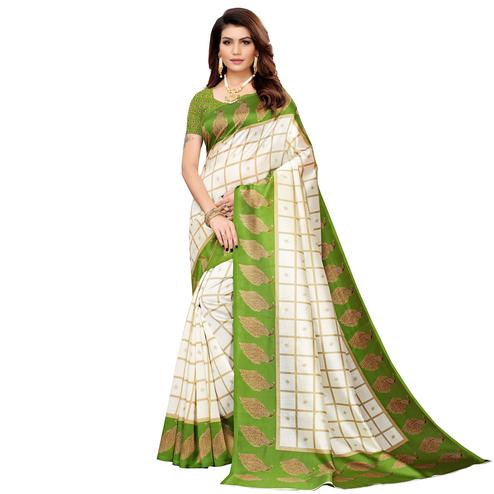 Surpassing Off White-Green Colored Casual Printed Mysore Silk Saree