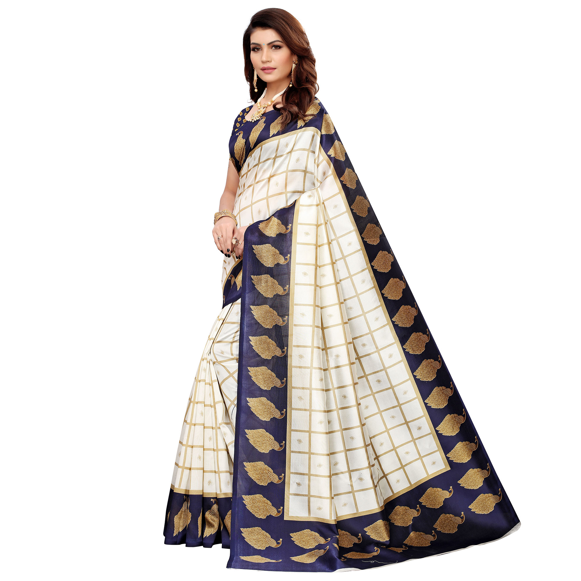 Elegant Off White-Navy Blue Colored Casual Printed Mysore Silk Saree