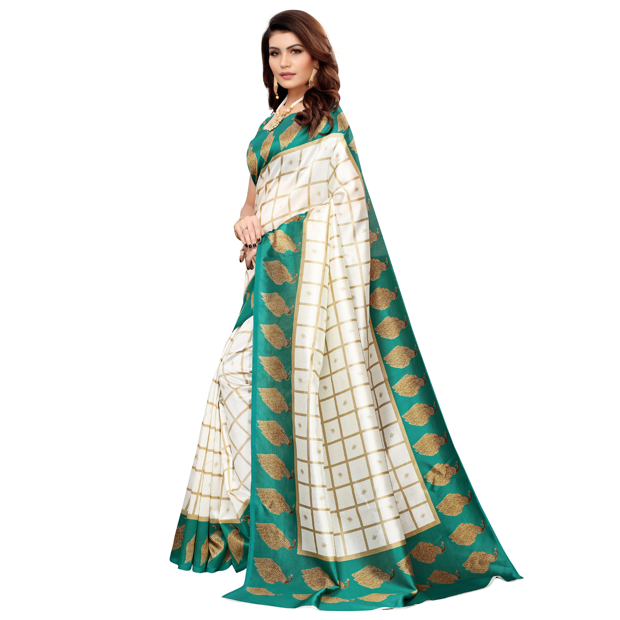 Radiant Off White-Turquoise Green Colored Casual Printed Mysore Silk Saree