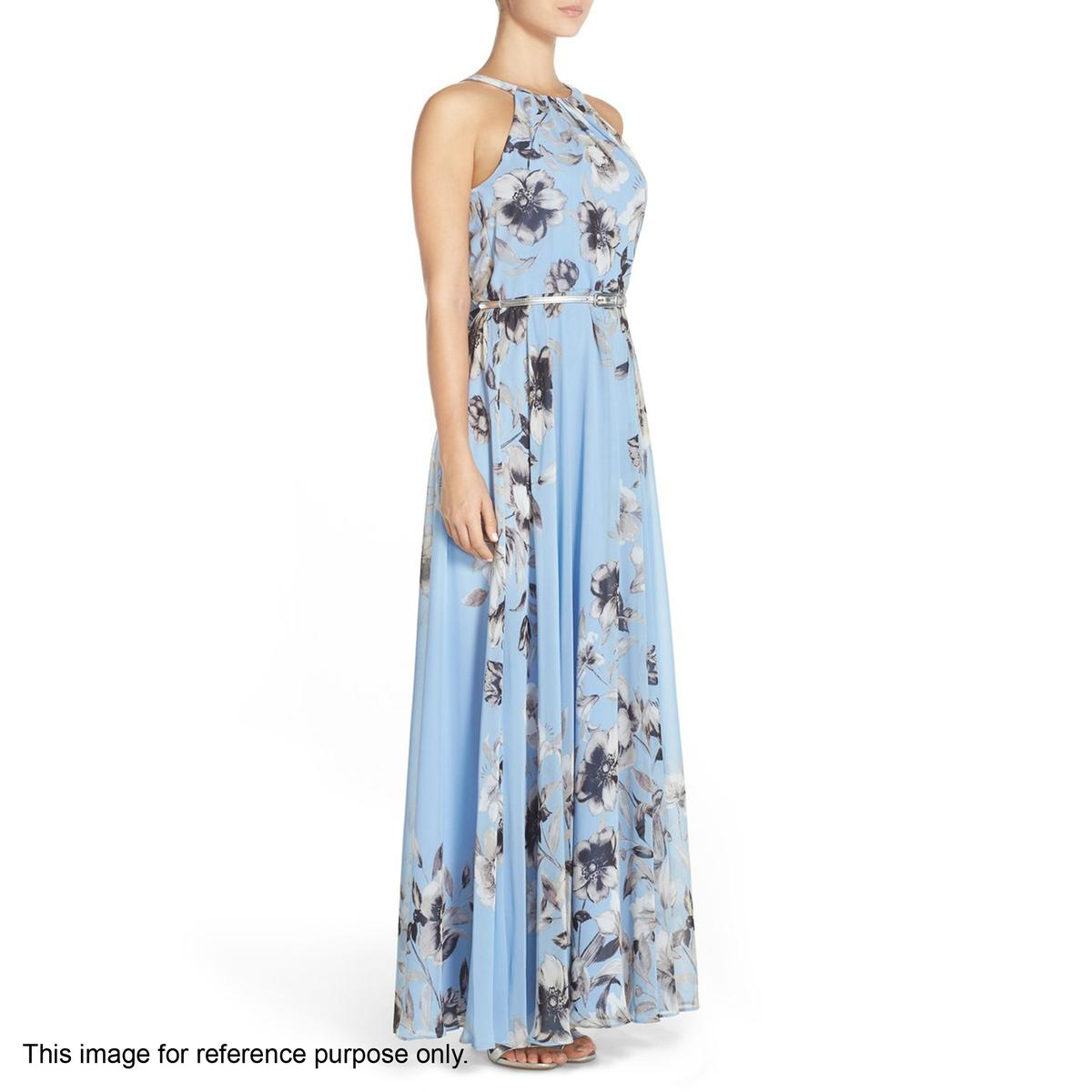 Blue Floral Print Georgette Gown