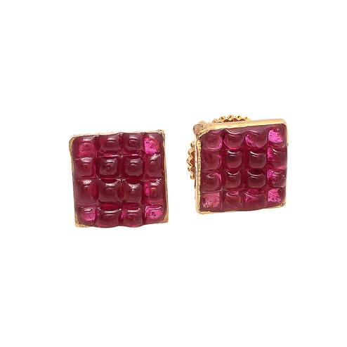 Arresting Designer Stud Earrings With Red Stones