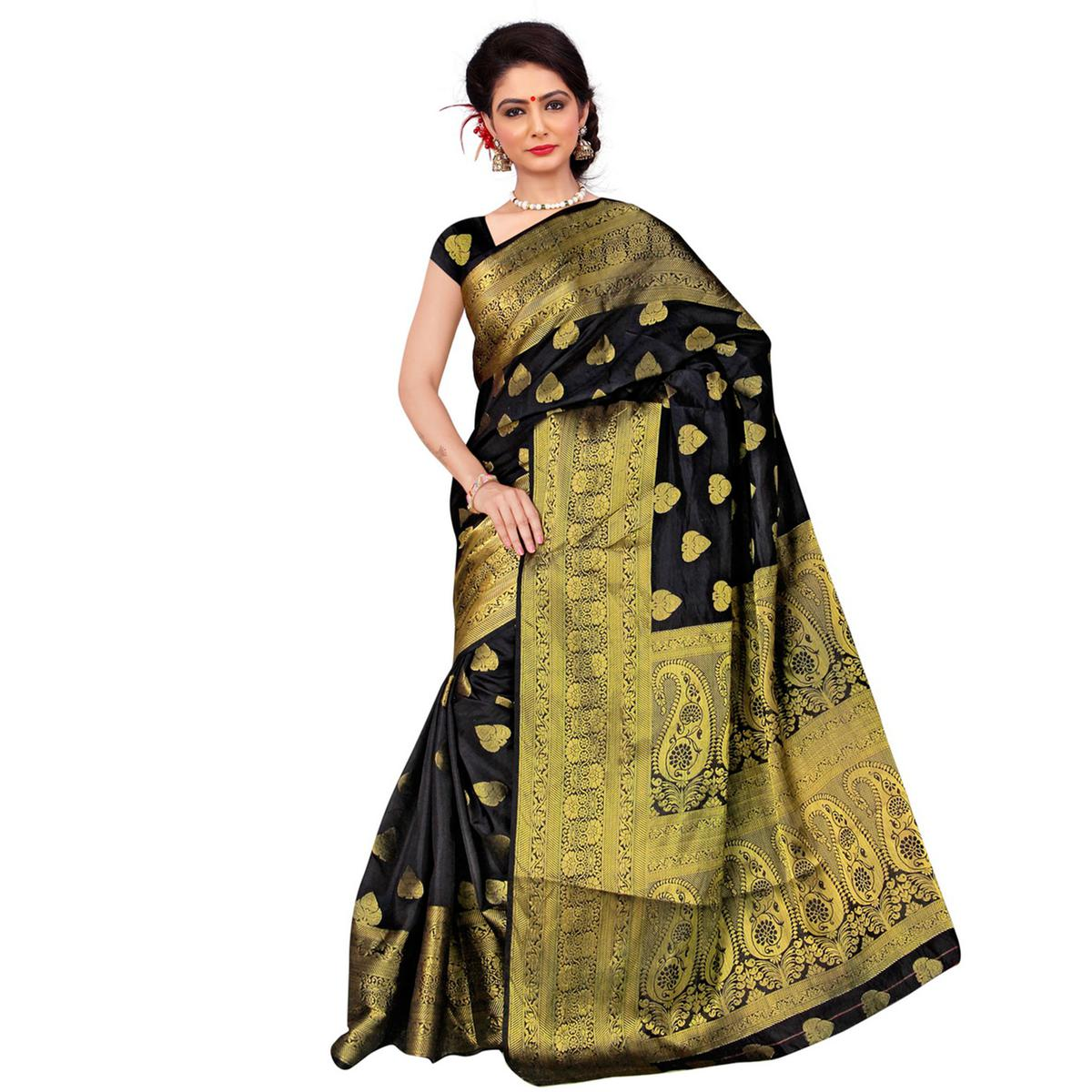 Black Banarasi Silk Traditional Saree