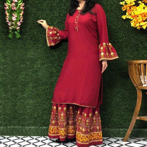 Imposing Red Colored Partywear Embroidered Rayon Palazzo Suit