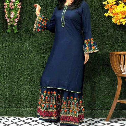Majesty Navy Blue Colored Partywear Embroidered Rayon Palazzo Suit