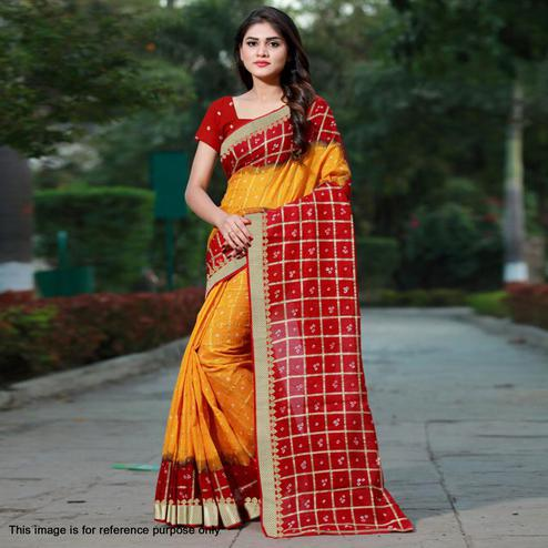 Trendy Yellow Colored Casual Printed Art Silk Saree