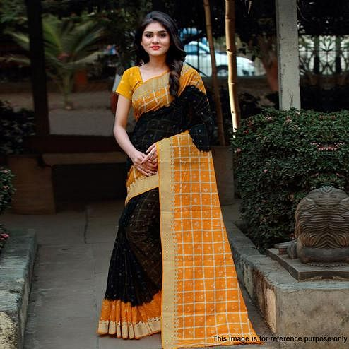 Elegant Black Colored Casual Printed Art Silk Saree