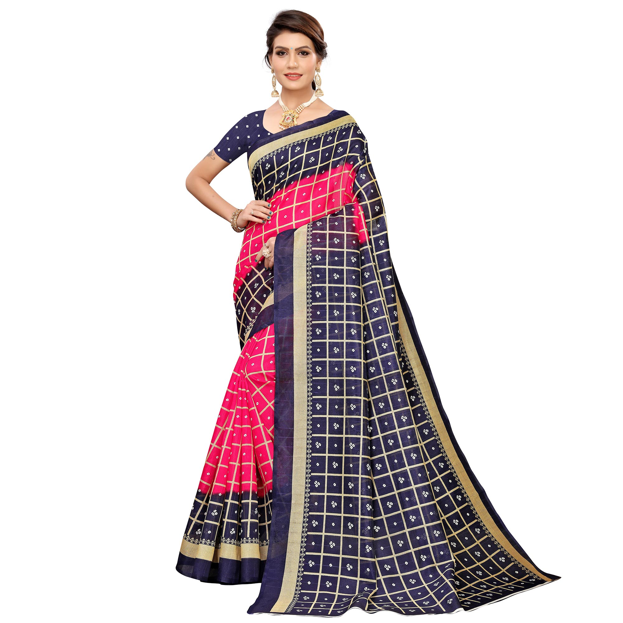 Radiant Pink Colored Casual Printed Art Silk Saree
