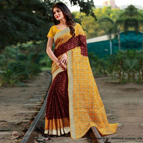 Pleasant Maroon Colored Casual Printed Art Silk Saree