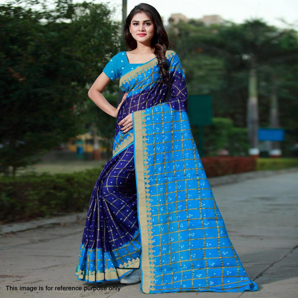 Energetic Navy Blue Colored Casual Printed Art Silk Saree
