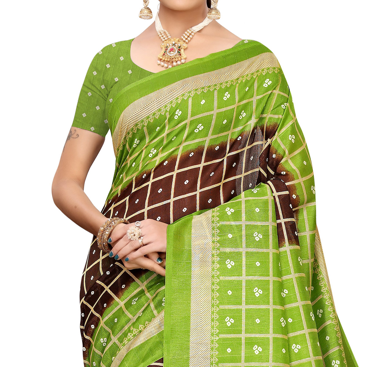 Flaunt Brown Colored Casual Printed Art Silk Saree