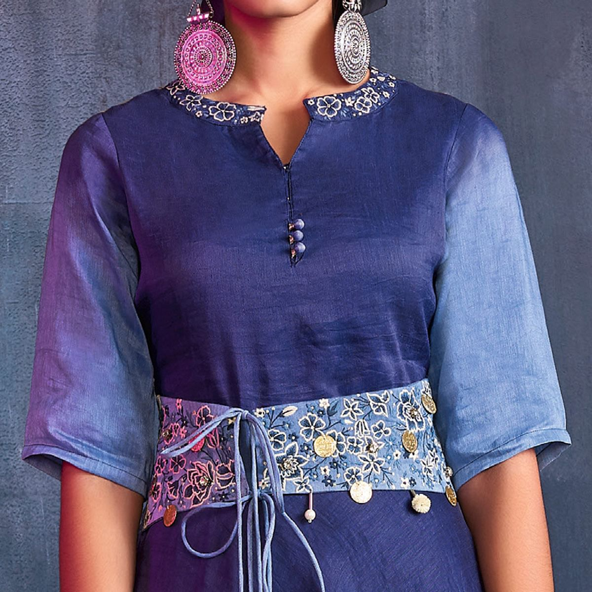 Prominent Blue Colored Partywear Embroidered Viscose Gown
