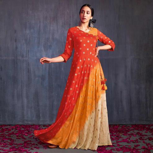 Adorning Orange-Cream Colored Partywear Foil Printed Viscose Gown