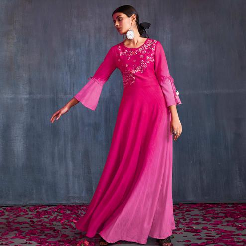 Appealing Pink Colored Partywear Embroidered Viscose Gown