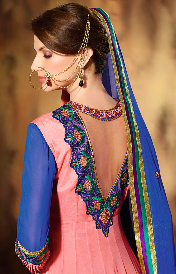 Shaded Peach - Blue Anarkali Suit