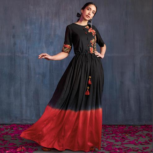 Entrancing Black-Red Colored Partywear Embroidered Viscose Gown