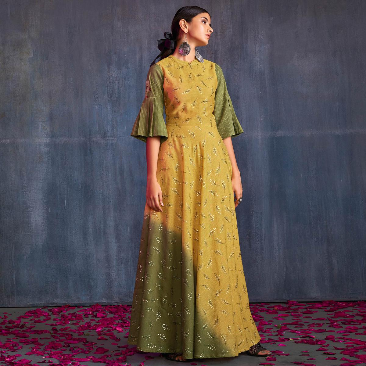 Groovy Yellow-Green Colored Partywear Embroidered Viscose Gown