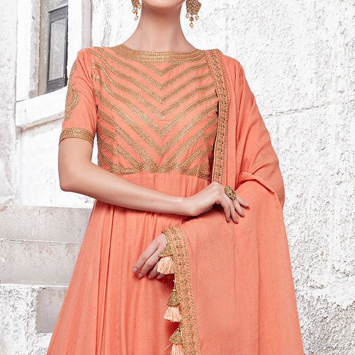Magnetic Peach Colored Partywear Embroidered Cotton Anarkali Suit