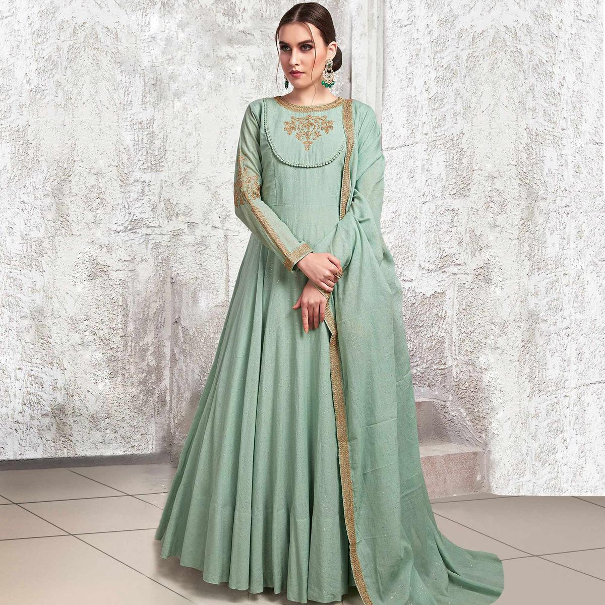 Hypnotic Light Aqua Blue Colored Partywear Embroidered Cotton Anarkali Suit