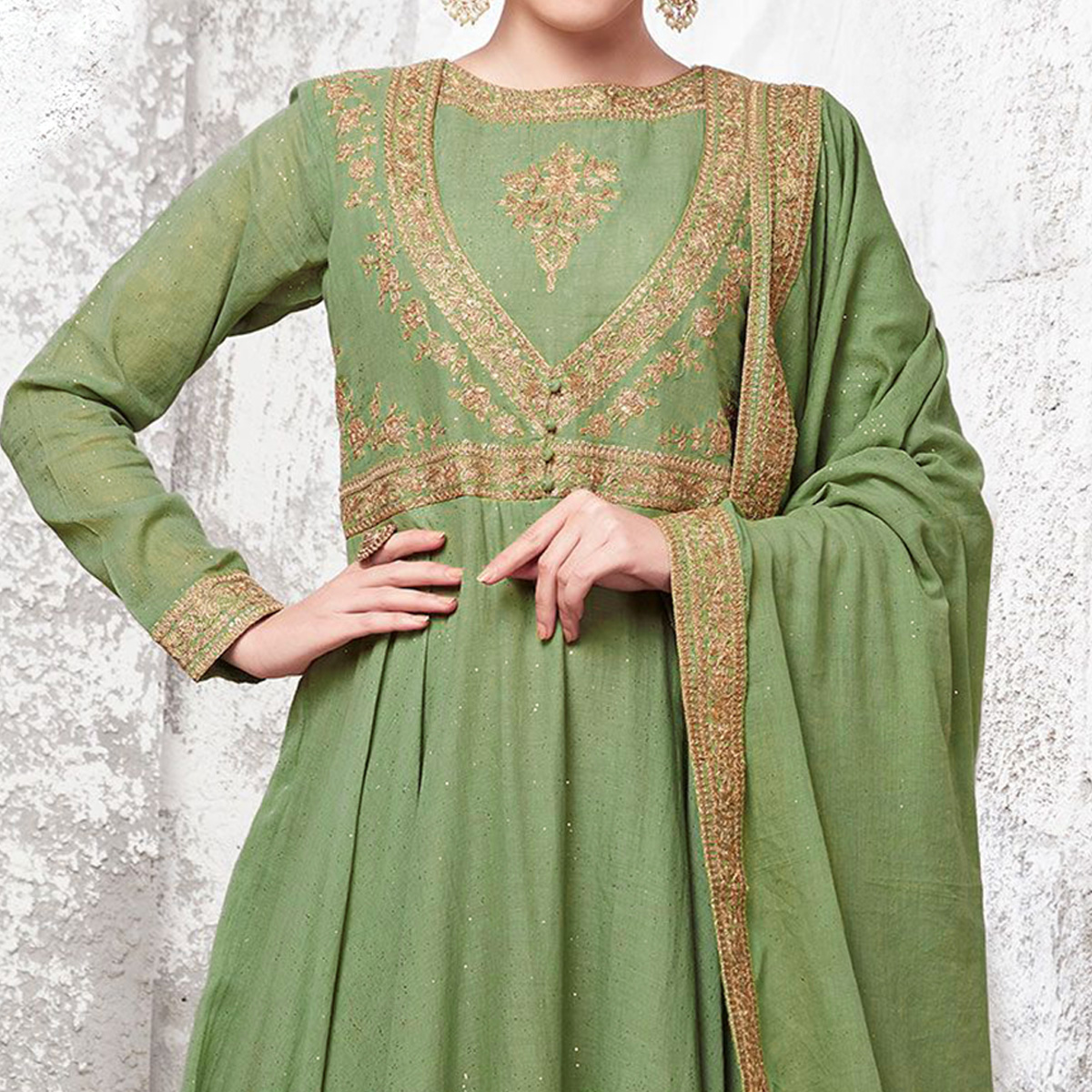 Flattering Green Colored Partywear Embroidered Cotton Anarkali Suit