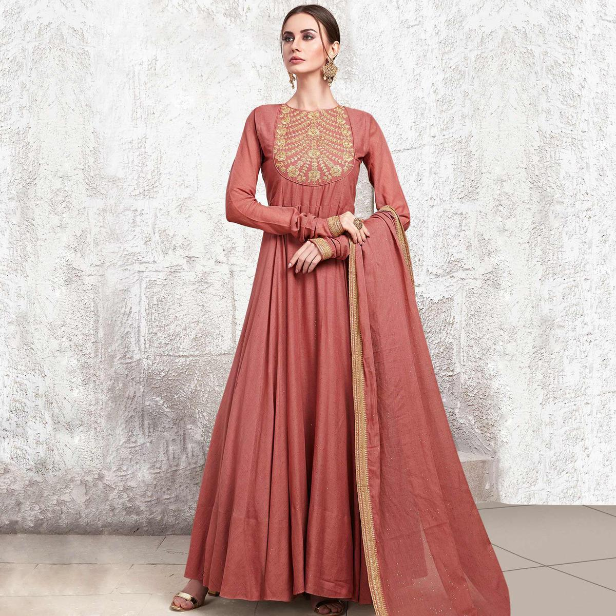 Excellent Salmon Colored Partywear Embroidered Cotton Anarkali Suit