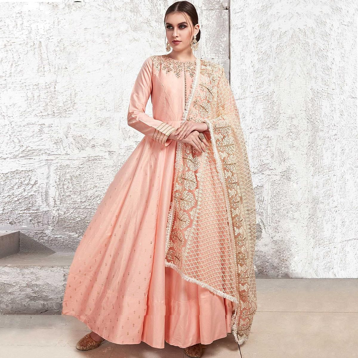 Preferable Light Pink Colored Partywear Embroidered Cotton Anarkali Suit