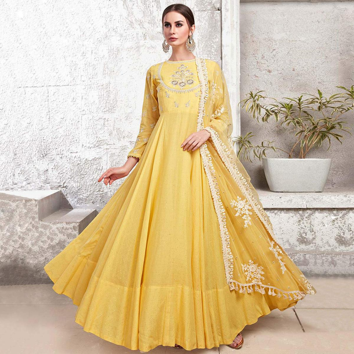 Marvellous Yellow Colored Partywear Embroidered Cotton Anarkali Suit