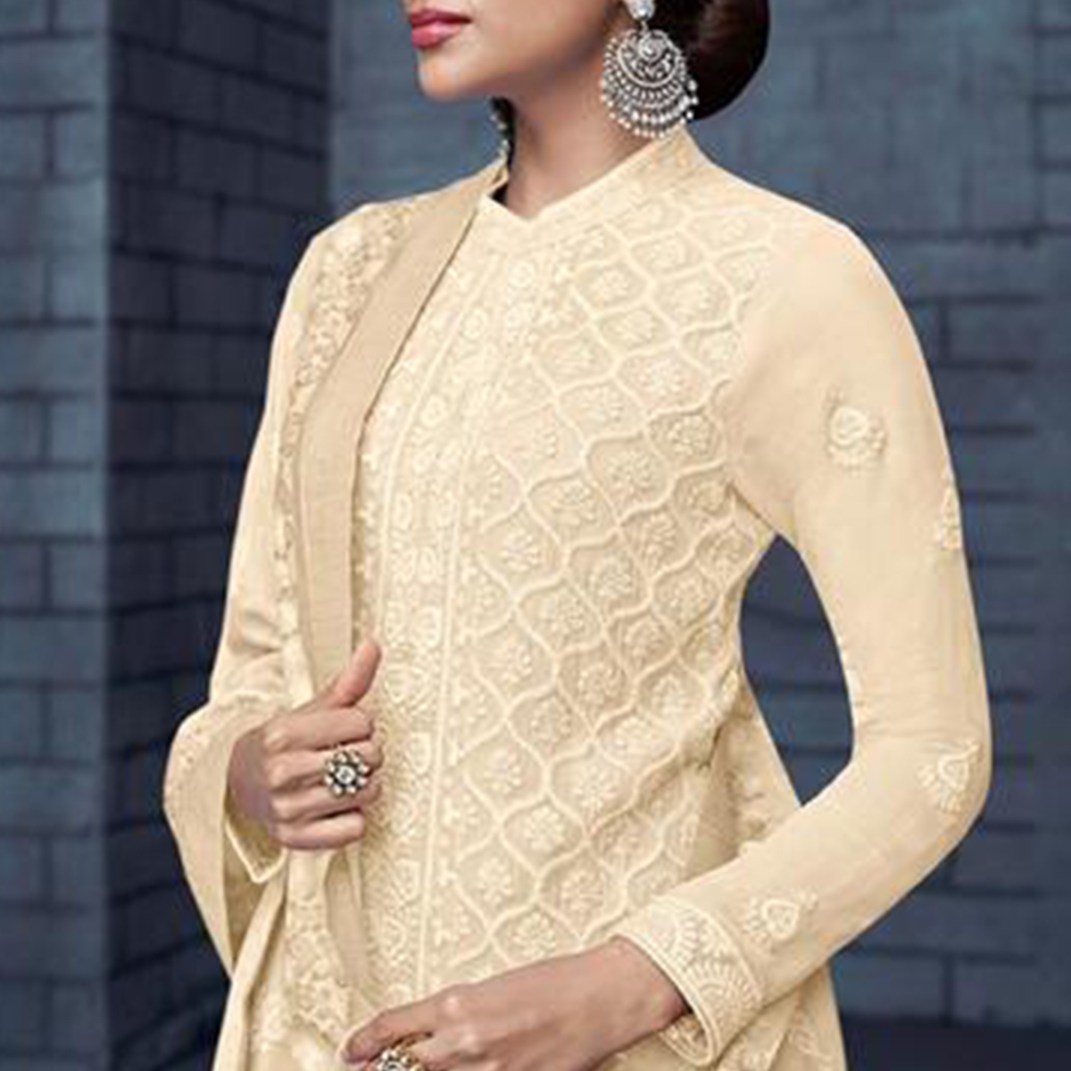 Mesmeric Cream Colored Partywear Stitched Georgette Lakhnavi Suit