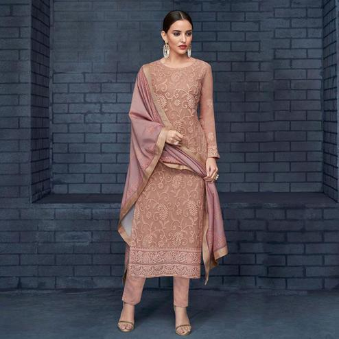 Unique Light Brown Colored Partywear Stitched Georgette Lakhnavi Suit