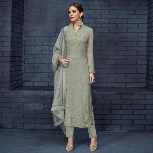 Demanding Pastel Green Colored Partywear Stitched Georgette Lakhnavi Suit