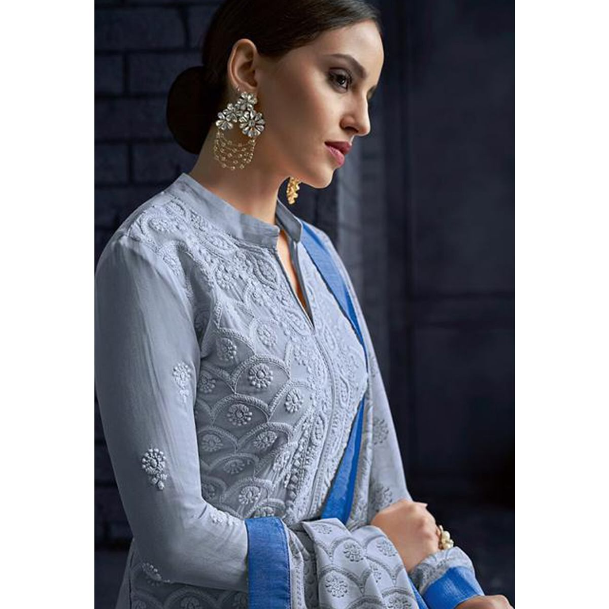 Refreshing Grey Colored Partywear Stitched Georgette Lakhnavi Suit
