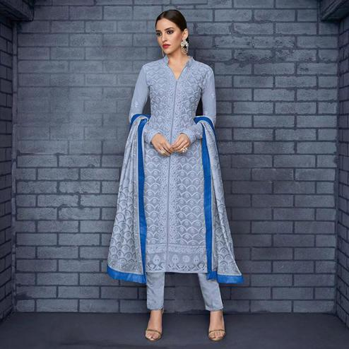 Refreshing Light Blue Colored Partywear Stitched Georgette Lakhnavi Suit