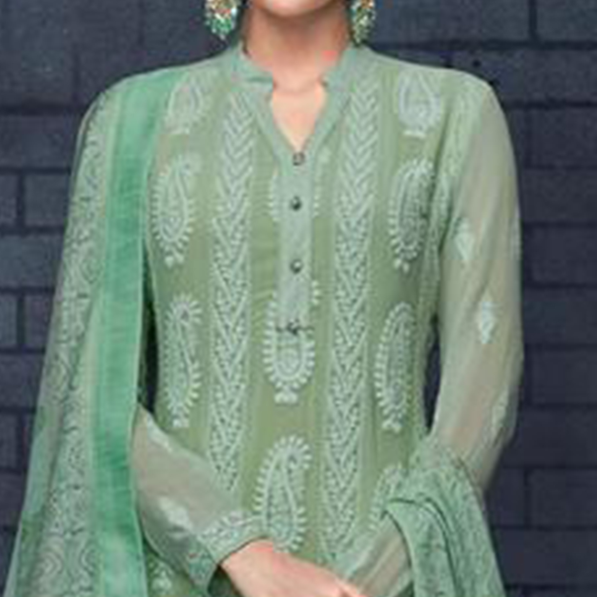 Magnetic Turquoise Green Colored Partywear Stitched Georgette Lakhnavi Suit