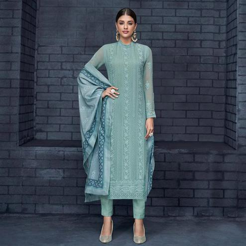 Hypnotic Pastel Aqua Blue Colored Partywear Stitched Georgette Lakhnavi Suit