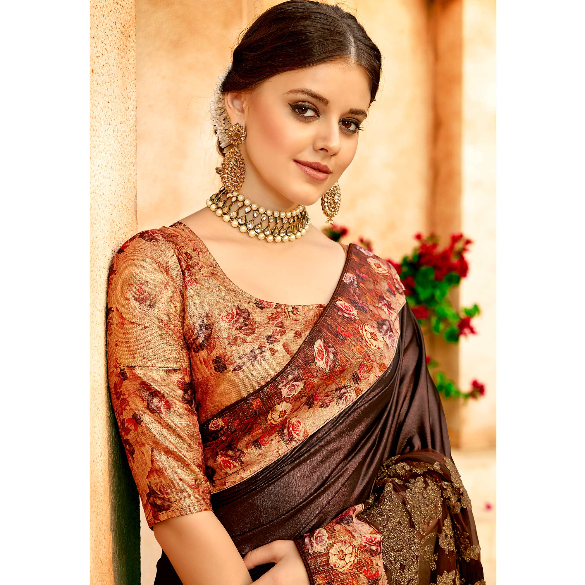 Innovative Brown Colored Partywear Printed Lycra & Net Saree