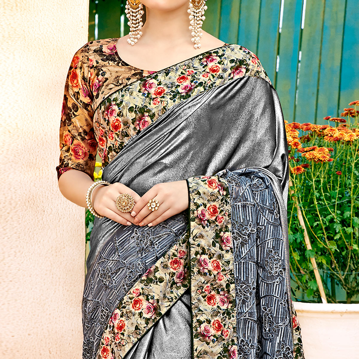 Eye-catching Gray Colored Partywear Printed Lycra & Net Saree