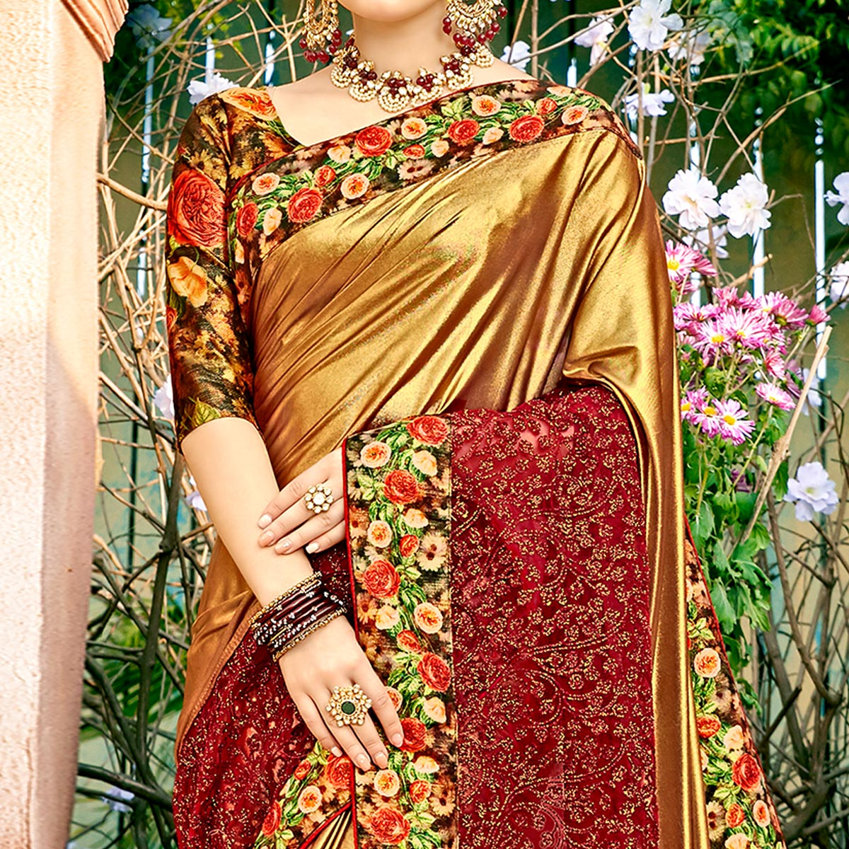 Blissful Golden Colored Partywear Printed Lycra & Net Saree