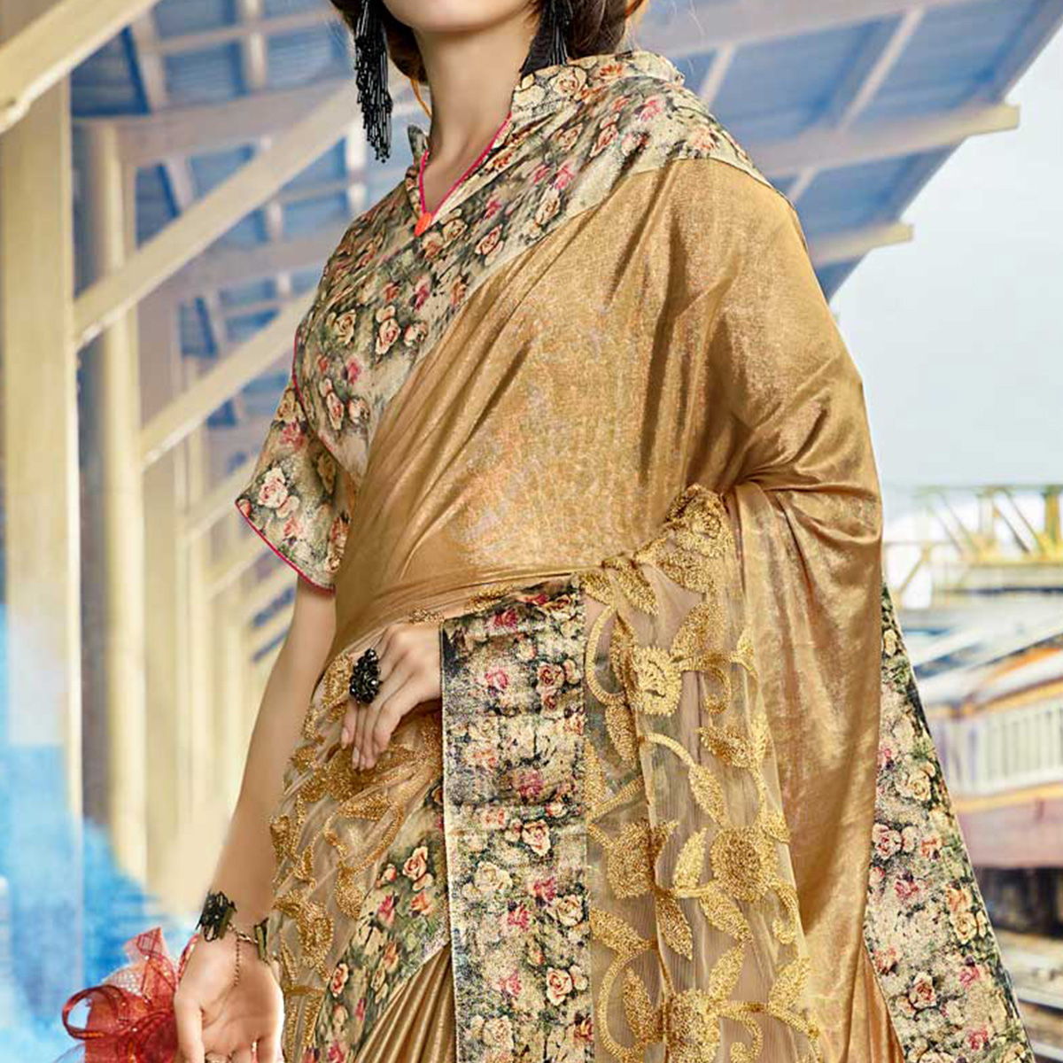 Imposing Beige Colored Party Wear Printed Lycra & Net Saree