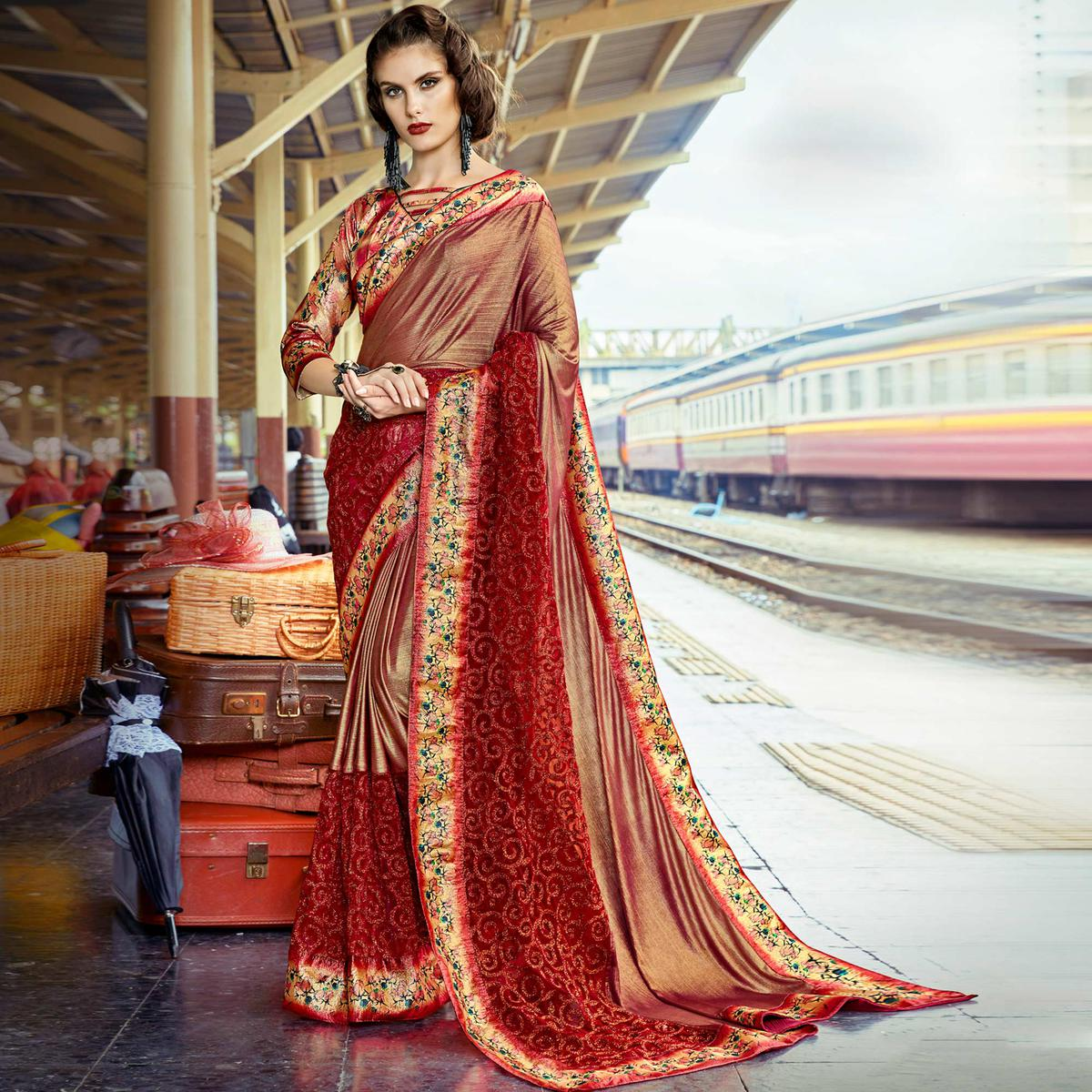 Lovely Maroon Colored Party Wear Printed Lycra & Net Saree