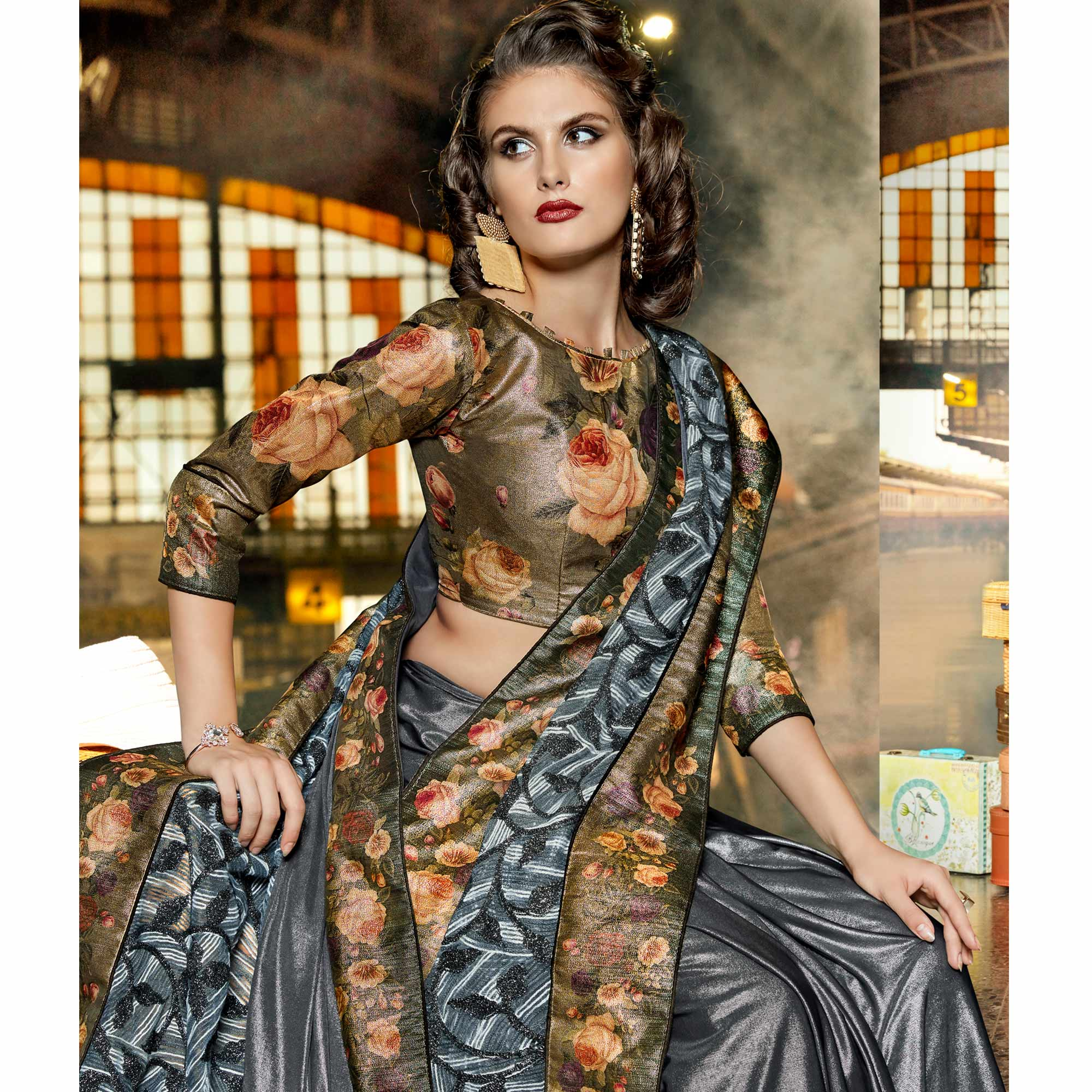 Majesty Grey Colored Party Wear Printed Lycra & Net Saree