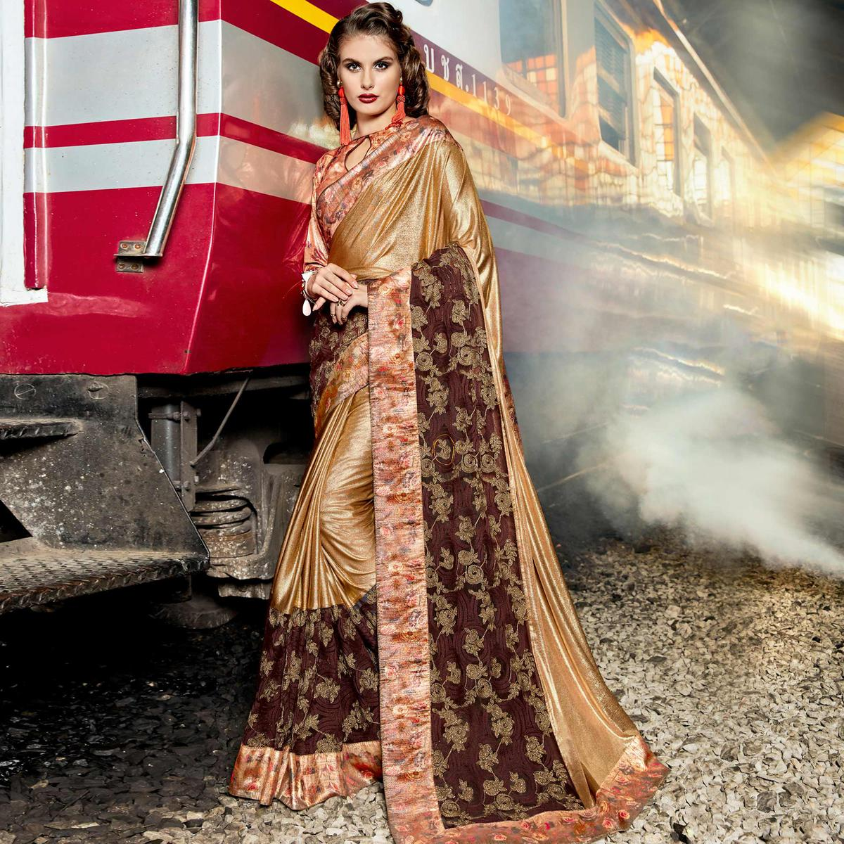 Impressive Golden-Brown Colored Party Wear Printed Lycra & Net Saree