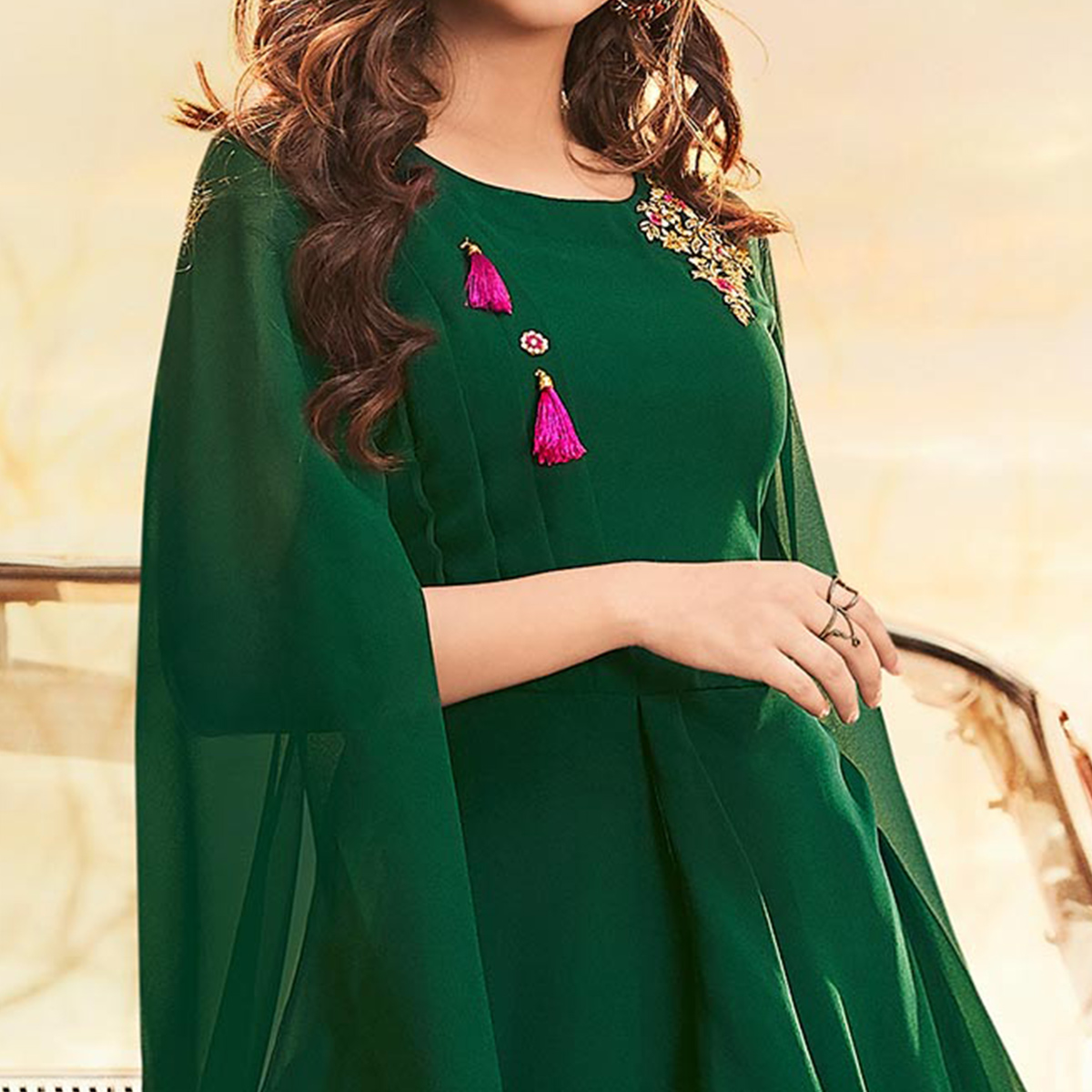 Ideal Green Colored Partywear Embroidered Georgette Gown