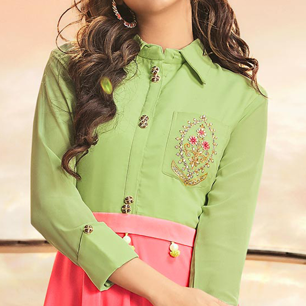 Lovely Green-Pink Colored Partywear Embroidered Georgette Gown