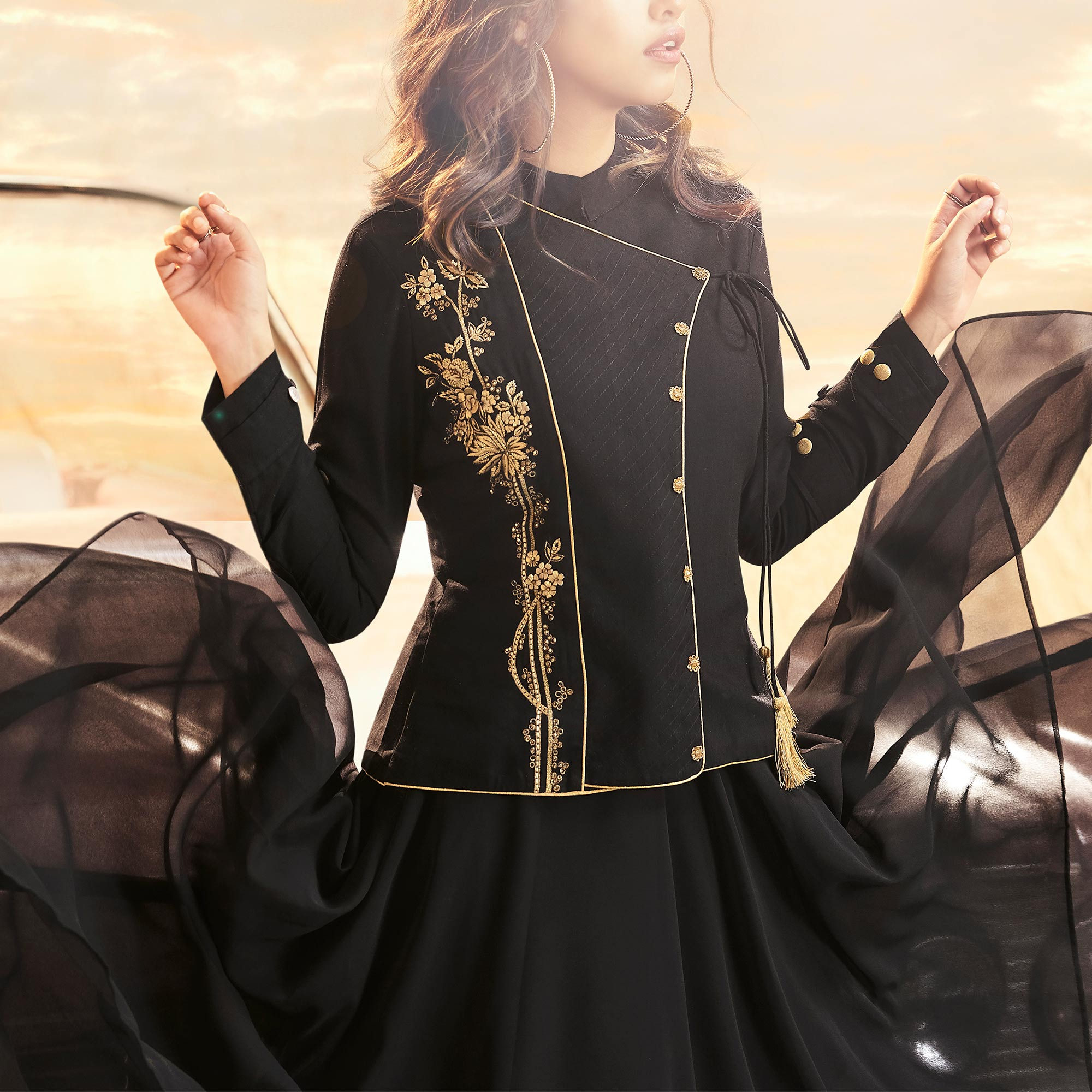 Majesty Black Colored Partywear Embroidered Georgette Gown