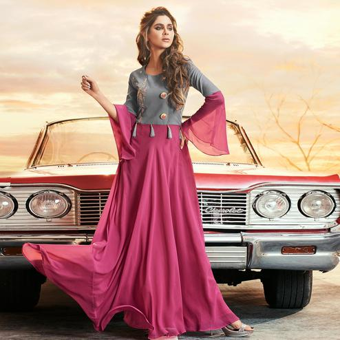 Mesmerising Grey-Pink Colored Partywear Embroidered Georgette Gown