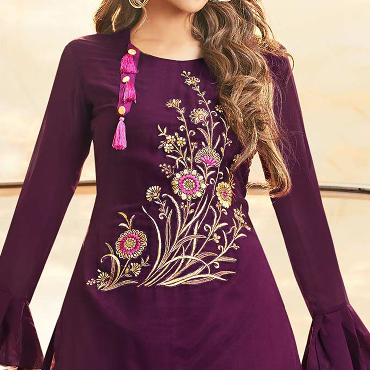 Pleasance Purple Colored Partywear Embroidered Georgette Gown