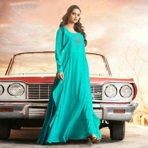 Breathtaking Aqua Blue Colored Partywear Embroidered Georgette Gown